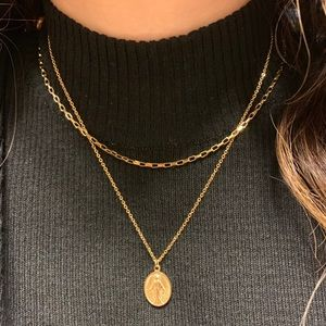 stainless steel gold chunky box chain necklace